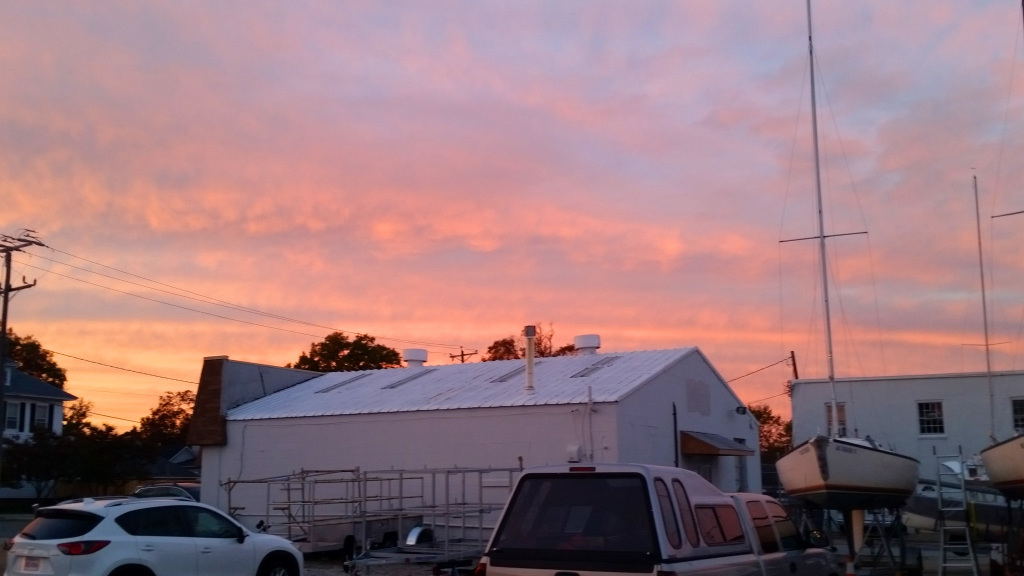 Sunday afternoon sunset over the HYC boatyard.