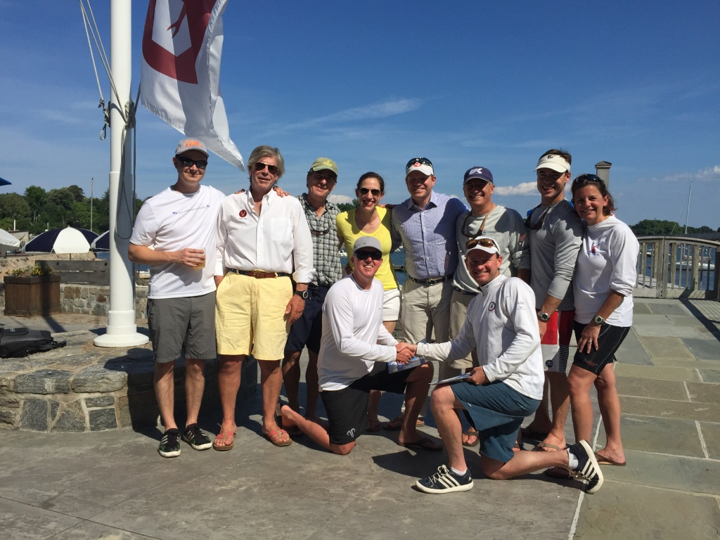 Danny Pletsch (front left) and Cardwell Potts (front right) with other Larchmont YC members celebrating their winning the 2015 Viper New England Championshio