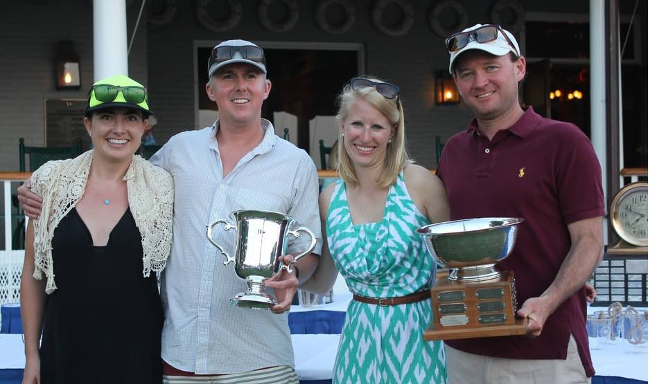 Megan and Danny Pletsch with Jennifer and Cardwell Potts being awarded Larchmont Race Week's Kathleen Anne Cullen Memorial Trophy.