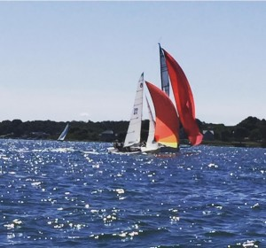 Patched Up taking out the lead Melges 32 just before the finish of the Around Fishers Island Race.