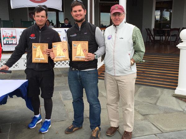 Dave Chapman, Brendan Larrabee and LYC Cdre Tim Porter- second VIper 2015 NAs