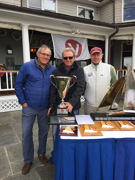 Dave Nickerson receiving Governor's Cup (best over 55 skipper) by VIper Gov. Justin Scott and LYC Cdre Tim Porter
