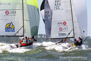 2016 Charleston Race Week saw planing conditions for Vipers nearly all races.  Photo courtesy Karen Ryan