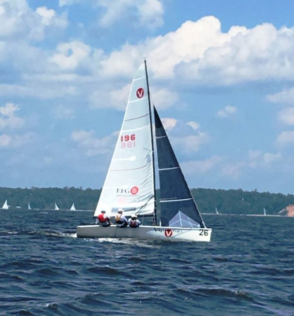 Kevin Norland, Buttons Padin, and Don Faricloth winning the 2016 GYA Sportboat Championship.